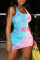Powder Blue Fashion Sexy Print Basic U Neck Vest Dress