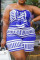 Blue Sexy Casual Print Backless Strapless Plus Size Romper