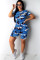 Blue Sexy Patchwork Gradient Print Two Piece Suits Camouflage pencil Short Sleeve