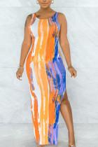 Yellow Sexy Print Split Joint Frenulum U Neck Vest Dress