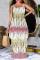 Yellow Sexy Print Split Joint Spaghetti Strap Straight Dresses