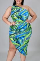 Green Sexy Print Split Joint Asymmetrical Oblique Collar Pencil Skirt Plus Size Dresses
