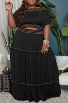 Black Casual Solid Split Joint Off the Shoulder Straight Plus Size Two Pieces