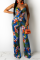 Blue Sexy Print Hollowed Out Spaghetti Strap Straight Jumpsuits