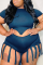 Navy Blue Sexy Solid Tassel O Neck Plus Size Two Pieces