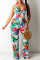 White Sexy Print Hollowed Out Spaghetti Strap Straight Jumpsuits