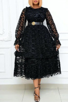 Black Fashion Casual Solid Split Joint Without Belt O Neck Long Sleeve Dresses