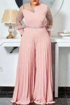 Pink Sexy Casual Patchwork See-through Without Belt O Neck Regular Jumpsuits