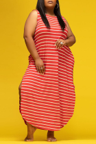 Red Casual Striped Split Joint O Neck Straight Plus Size Dresses