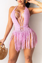 Pink Sexy Solid Hollowed Out Split Joint Frenulum Swimwears Cover Up