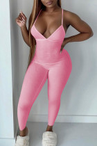Pink Sexy Solid Split Joint Spaghetti Strap Skinny Jumpsuits