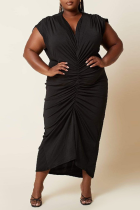 Black Sexy Solid Split Joint V Neck Pleated Plus Size Dresses