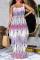 Purple Sexy Print Split Joint Spaghetti Strap Straight Dresses