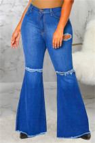 Blue Fashion Casual Solid Ripped Without Belt Plus Size Jeans