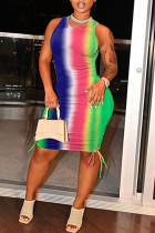Colour Sexy Casual Print Bandage O Neck Vest Dress