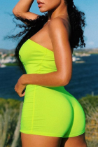 Fluorescent Green Sexy Solid Split Joint Strapless Skinny Jumpsuits