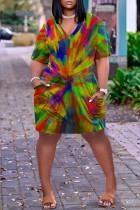 Rainbow Color Fashion Casual Plus Size Print Basic V Neck Short Sleeve Dress