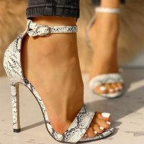 White Fashion Pointed Snake Print High Heel Sandals