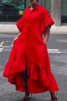 Red Casual Solid Split Joint Buckle Flounce Asymmetrical Half A Turtleneck Irregular Dress Dresses