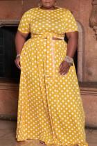 Yellow Sweet Print Polka Dot Bandage Split Joint O Neck Straight Plus Size Two Pieces