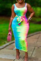 Colour Casual Gradual Change Print Bandage Split Joint U Neck Vest Dress Dresses