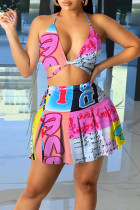 Rose Red Sweet Print Bandage Split Joint Halter Sleeveless Two Pieces