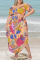 Colour Sexy Print Split Joint Off the Shoulder Straight Plus Size Two Pieces