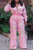 Pink Fashion Casual Print Basic Turndown Collar Regular Jumpsuits