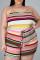 Pink Sexy Casual Striped Print Spaghetti Strap Plus Size Romper
