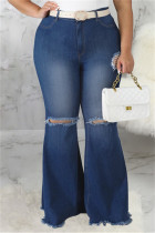 Dark Blue Fashion Casual Solid Ripped Without Belt Plus Size Jeans