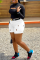White Casual Solid Split Joint Skinny Mid Waist Pencil Solid Color Plus Size Denim Shorts