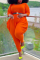 Tangerine Red Casual Solid Split Joint V Neck Plus Size Jumpsuits