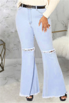 Baby Blue Fashion Casual Solid Ripped Without Belt Plus Size Jeans