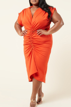 Red Sexy Solid Split Joint V Neck Pleated Plus Size Dresses