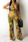 Yellow Sexy Print Hollowed Out Spaghetti Strap Straight Jumpsuits