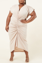 Cream White Sexy Solid Split Joint V Neck Pleated Plus Size Dresses