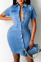 Light Blue Fashion Casual Solid Buckle Turndown Collar Denim Dress