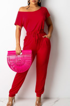 Red Casual Solid Split Joint Frenulum O Neck Straight Jumpsuits