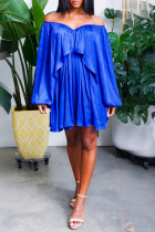 Blue Sexy Solid Flounce Off the Shoulder Pleated Dresses