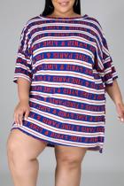 Blue Casual Striped Split Joint One Shoulder Straight Plus Size Dresses