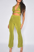 Green Sexy Solid Bandage Hollowed Out Split Joint V Neck Sleeveless Two Pieces