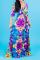 Blue Sexy Print Split Joint V Neck Waist Skirt Dresses