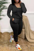 Black Casual Solid Split Joint U Neck Skinny Jumpsuits