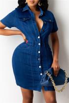 Deep Blue Fashion Casual Solid Buckle Turndown Collar Denim Dress