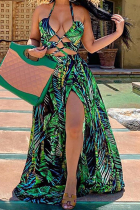 Green Sexy Print Hollowed Out Halter Cake Skirt Dresses