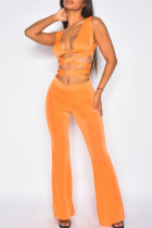 Orange Sexy Solid Bandage Hollowed Out Split Joint V Neck Sleeveless Two Pieces