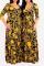 Gold Sexy Print Split Joint V Neck Waist Skirt Dresses