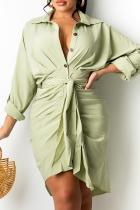 Green Casual Solid Split Joint Turndown Collar Shirt Dress Dresses