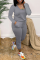 Grey Casual Solid Split Joint U Neck Skinny Jumpsuits