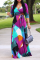 Colorful Blue Sexy Print Split Joint V Neck Waist Skirt Dresses